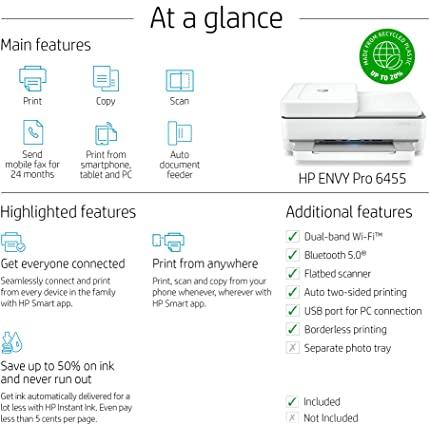 Differences between HP ENVY 6055 vs ENVY 6455