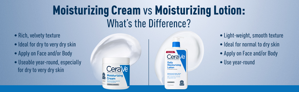 Difference between CeraVe Moisturizing Cream and CeraVe Moisturizing Lotion